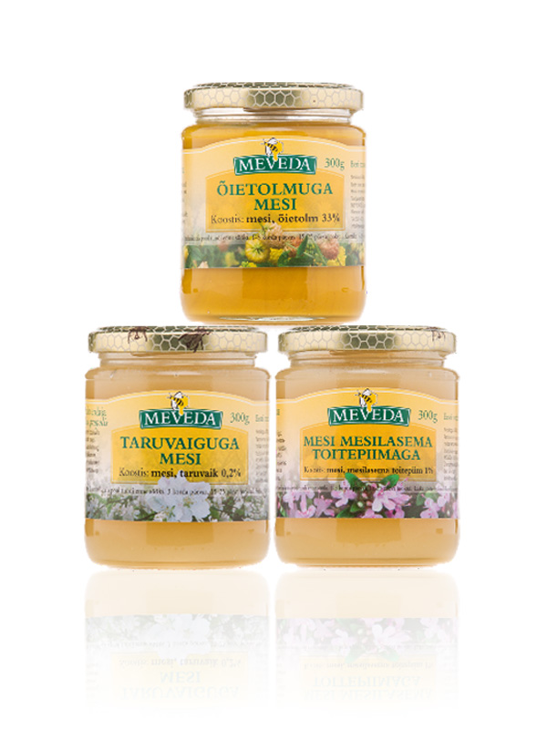MEVEDA honey jars labels x3
