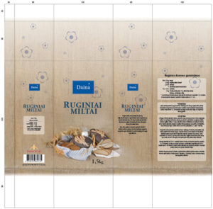 Rye flour bag pack design Lithuanian