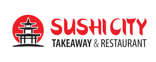 Sushi City brandmark design on white