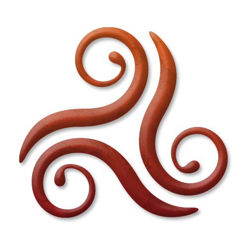 Karum-Creevagh triskele symbol design on white