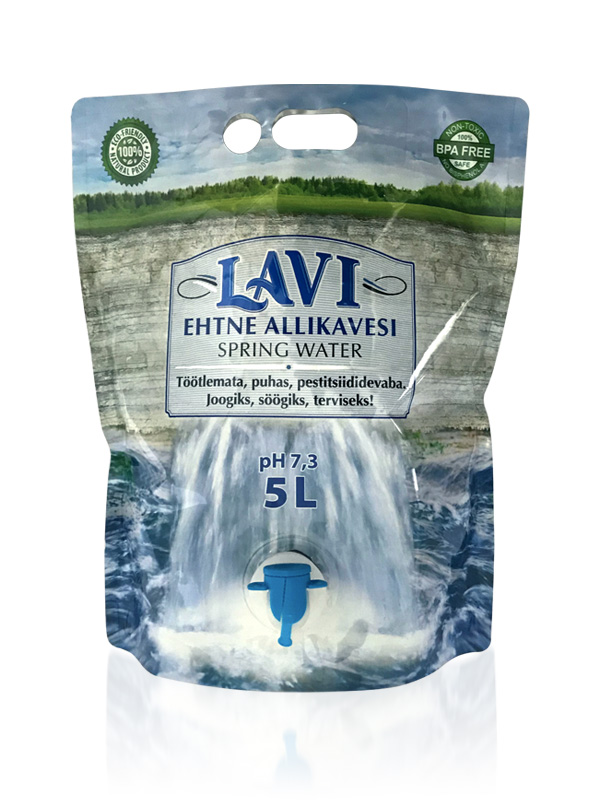 LAVI spring water pouch pack design front